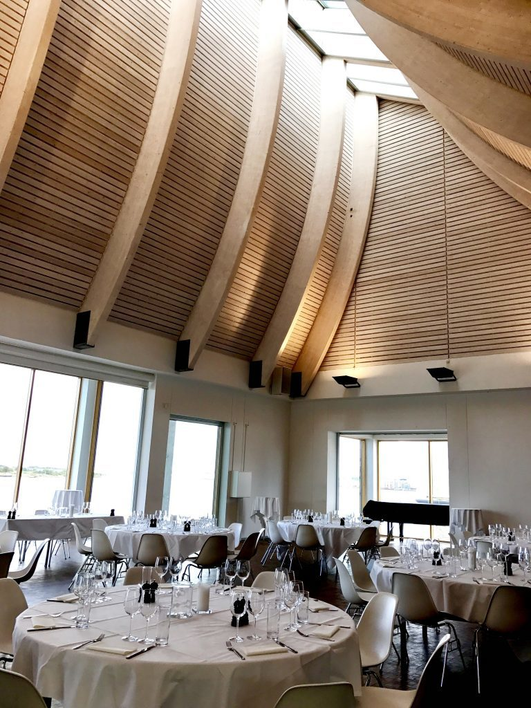The setting for Bruce Jack's wine dinner in Denmark's Utzon Centre designed by the same architect behind the Sydney Opera House.