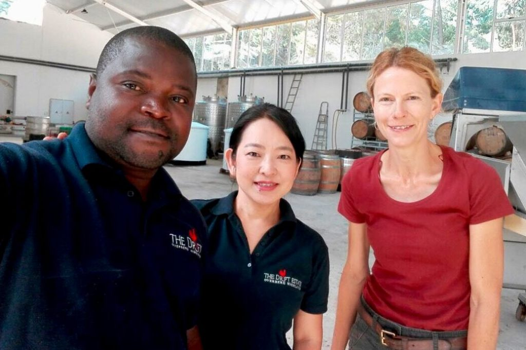 Enock Gumeni (head cellar assistant), Naoko Ikeda and Marlize Beyers (winemaker)